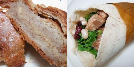 クロワッサン・オ・ザマンド、豚の角煮のラップ