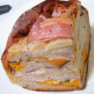 カボチャと栗とベーコン、チーズのミルフィーユ